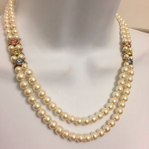 Vintage Gorgeous Faux Pearl Crystal Necklace